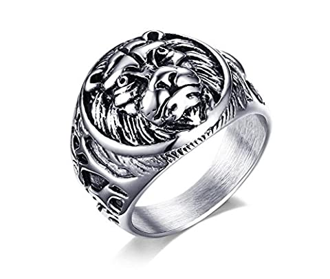 Vnox Men's Stainless Steel Lion Head Seal Signet Band Ring Punk Rock Gothic Jewellery
