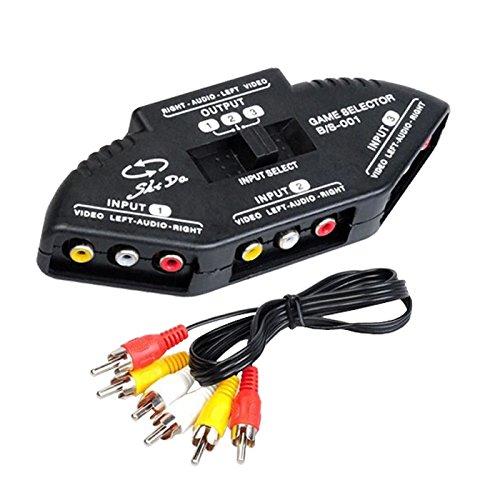 P99 3 Wege Audio Video AV RCA Switch Selector Box Splitter Umschalter 3RCA Kabel, Keine zusätzliche Stromversorgung und Software-Laufwerk benötigt, Plug und Play, Anschlüsse: 1x AV-Ausgang, 3x AV-Eingang, Kompatibel mit allen gängigen AV-Geräte wie Fernseher, XBOX, DVD, PS2, Abmessungen: 160mm x 62mm x 28mm, Farbe Schwarz Audio Video Switch Box