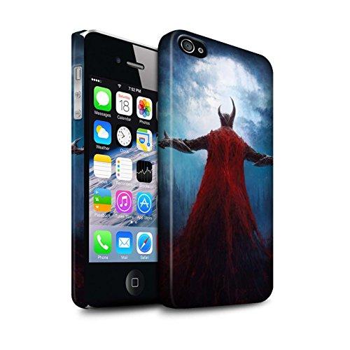 Offiziell Chris Cold Hülle / Matte Snap-On Case für Apple iPhone 4/4S / Gehörnter Dämon Muster / Dämonisches Tier Kollektion Dunkelste Stunde