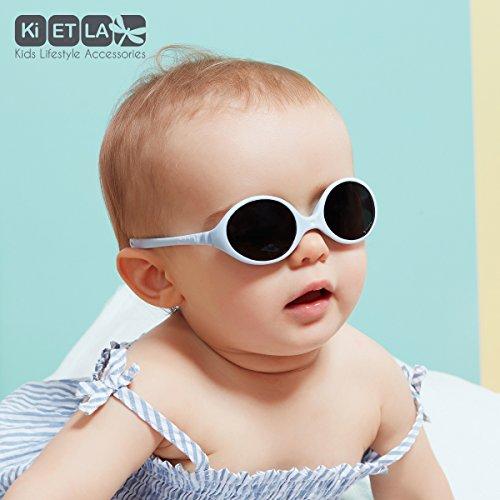 Ki ET LA - Lunettes de soleil bébé Diabola, 0 - 18 mois, Unique 2 tailles en 1, Bleu roi Bleu Ciel
