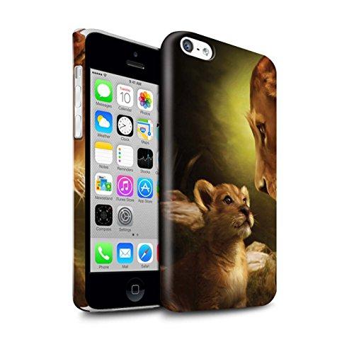 Officiel Elena Dudina Coque / Clipser Brillant Etui pour Apple iPhone 5C / Le Calin/Chiot/Chien Design / Les Animaux Collection Oui Maman/Lion/Petit