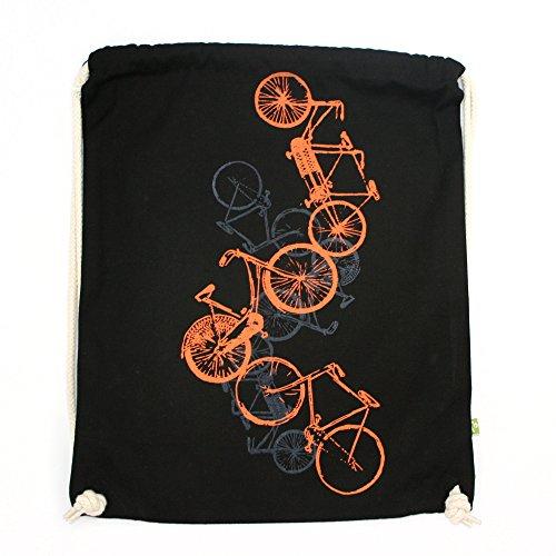 Turnbeutel Fahrräder, Bio-Baumwolle, Hipster Beutel, Tragetasche, Gymsac, Stringbag, Drawstring, Jutebeutel, Tasche, Rucksack, Handsiebdruck, natur, weiß, schwarz ()