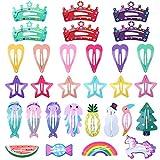 Hifot Haarspangen Mädchen 30 Stück Haarspangen Niedliche Haarpflege Haarschleifen aus Metall Haarbögen Clips für Kleinkinder Kinder Mädchen