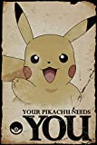 empireposter 745231Pokémon-Pikachu Needs You-Videojuego Anime Póster, Papel, Multicolor, 91,5x 61x 0,14cm