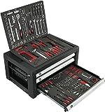 F-BD Werkzeugkiste 3 Schubladen gefüllt mit 192 tlg. Werkzeug Sortiment - Ratschen-Set, Nüsse, Schraubendreher, Bohrer, großes Bit-Set und vieles mehr