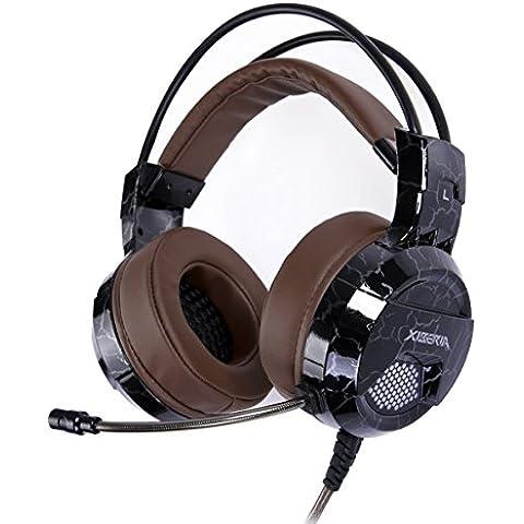 XIBERIA E1 USB Auriculares para Juegos de Sonido Envolvente que encima de las Orejas con Cable y con el