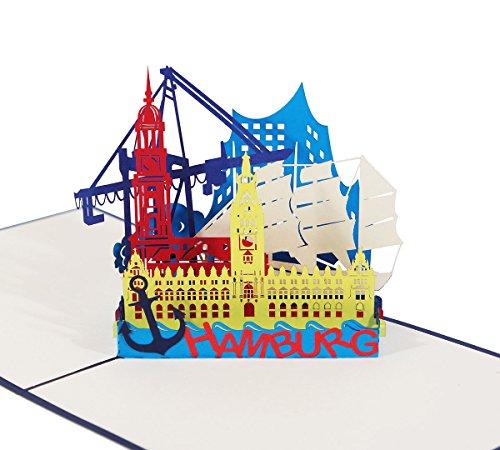 """3D KARTE\""""Hamburg Skyline\"""" in blau I Pop Up Karte als Reisegutschein, Grußkarte, Glückwunschkarte, Geburtstagskarte I Klappkarte als Souvenir"""