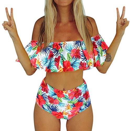 Frauen Tankini Sets Zweiteiler Bikini Sets mit Surfen Kurze Jungen Shorts Bademode Große Größe Hohe Taille Gewinkelt Wellpappe Gedruckt Strap Swimwear