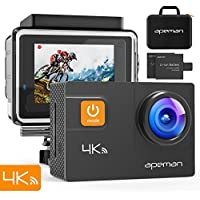 Apeman Sports Camera 4 K 20 MP WIFI Ultra HD Action Camera Underwater Waterproof 40 m Camcorder with 170 ° Wide-angle Eis Sony Sensor, 2 Batteries 1050 mAh, Briefcase and 24 Accessories Multiples