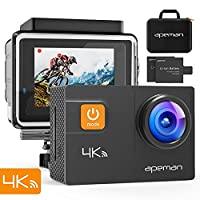 APEMAN Action Camera 4K Wi-Fi 20MP Waterproof camera Diving 40M 170 Wide-Angle 2 1050mAh Batteries 2.0' LCD Screen with Portable Package Sony Sensor Waterproof Case and Kit of Accessories