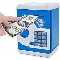 Hucha electrónica, con caricatura, contraseña, hucha de monedas, juguete, regalo para niños, Azul y blanco