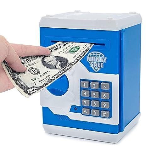 apuppy Elektronische Spardose, Cartoon Passwort Sparschwein Cash Medaille kann, Spielzeug Geschenke Geburtstag Geschenke für Kinder, blau / weiß