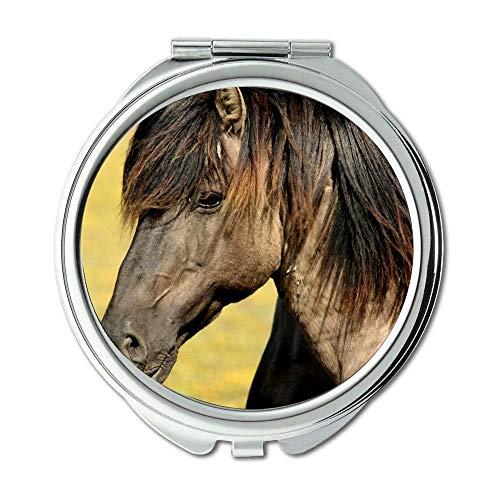 Yanteng Spiegel, Reise-Spiegel, Tiere Closeup Pferd, Taschenspiegel, tragbarer Spiegel -