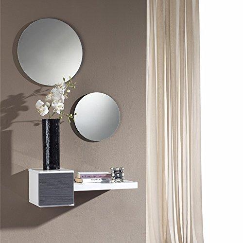 Meuble d'entrée Cendre + miroir - TIGA - L 61 x l 28 x H 20
