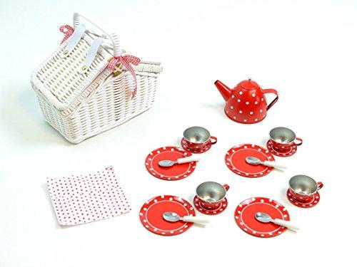 Kinder Geschirr Picknick Korb rot weiße Punkte 17 tlg.
