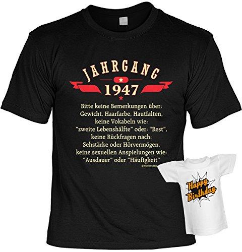 T-Shirt zum Geburtstag - Jahrgang 1947 - Bitte keine Bemerkungen über... - Im SET mit gratis Mini Shirt - Geschenk - schwarz Schwarz