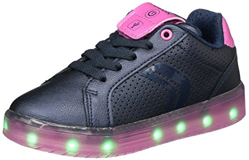 Geox j kommodor a, scarpe da ginnastica basse bambina, blu (navy/fuchsia), 36 eu