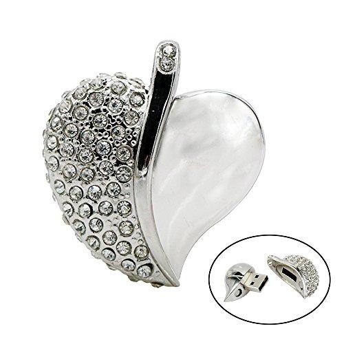 Civetman Silber 16GB USB-Stick, Halskette Herzform USB 2.0 Flash Drive, Herz Memory Stick Muttertag Geschenk
