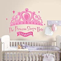 RoomMates Repositionable Childrens Personalisable Wall Stickers Princess Sleeps Here