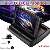 AST Works Foldable 4.3'' LCD Car Reverse Rear View Monitor + Parking Backup Camera Set
