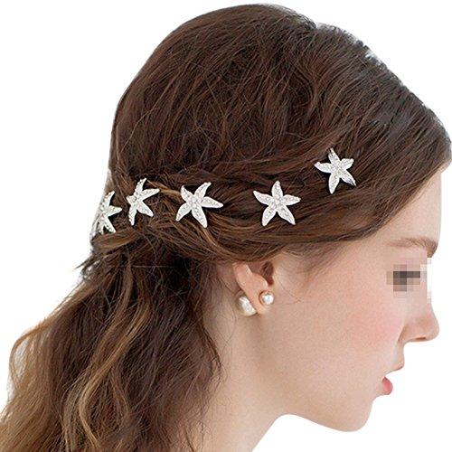 Butterme 10 Stück Brautkristallrhinestone Haar Stück Seestern U-förmigen Haarnadel Haarspange für Strand Themed Hochzeit, Frauen Haarschmuck