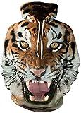 EmilyLe Damen 3D Druck Sweatshirts Weihnachten Pullover mit Cartoon Aufdruck Kapuzenjacke Langarm Top Hoodie (S/M, Tiger)