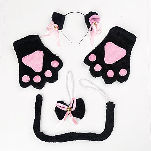 RGTR72 Katzen-Cosplay-Kostüm, 4-teiliges Set mit Katzenschwanz-Ohren, Kragen und -