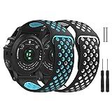 MoKo für Garmin Fenix 3 Armband, Silikon Atmungsaktiv Replacement Uhrenarmband Sportarmband Band Erstatzband für Garmin Fenix 3 / Fenix 3 HR/Fenix 5X Smart Watch, 2Pack A