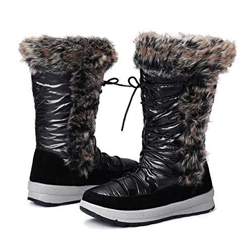 Gracosy Botas Nieve Mujer de Piel Invierno Antideslizante Plataforma Zapatos Calentar Cremallera Botines...