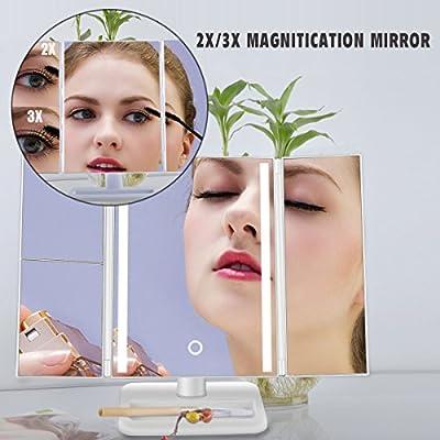 Kosmetikspiegel Faltbarer Tischspiegel Make up Spiegel 24 LED mit Beleuchtung, BOYKO 4 Abschnitt Spiegel ,180° Drehbarer Schminkspiegel, Batteriebetrieben und USB Aufladbar