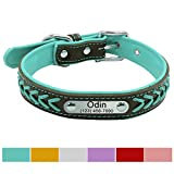 Vcalabashor Hundehalsband mit Namen und Telefonnummer,Hundehalsband Anh?nger mit Gravur,Hundehalsband Leder,XL 46-56cm,T¨¹Rkis