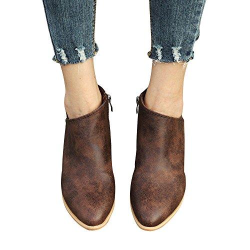 Damen Herbst Schuhe SHOBDW Mode Ankle Solid Künstliche Leder Schuhe Kurze Stiefel Frauen Kunstleder Duable Wasserdicht Kurz-Stöckelschuhe