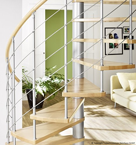 MINKA spiral staircase Venezia 120 / 140 / 160 cm with stainless steel balustrade and wooden rail