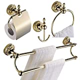CASEWIND 4 Pieces Bathroom Accessory Set Towel Hook, Toilet Paper Holder, Towel Ring, Towel Bar, all Brass Construction Wall Mounted Polished Gold finished