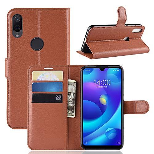MISKQ Cover per Xiaomi Mi Play,Fondina a Portafoglio Clamshell,Custodia per Cellulare a Prova di Cadute,Custodia in Silicone(Marrone)