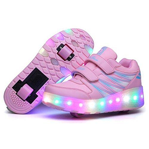 Unisex Sapatos De Skate Patins Rolo Sapatos Única Roda Levou Luzes Piscando Rodas De Skate Tênis Com Dois Rolos Rosa # 1