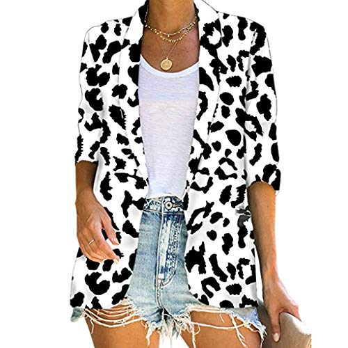 Damen Sommer Herbst T-Shirt O-Ausschnitt Kurzarm Hemd Lose Beiläufige Frauen Sexy Gradient Bedruckt Stretch Jahrgang Weste Yoga Tee Baumwolle Polyester Große Strickjacken Bluse Tops (EU:42, Schwarz) - Alltägliche Strickjacke