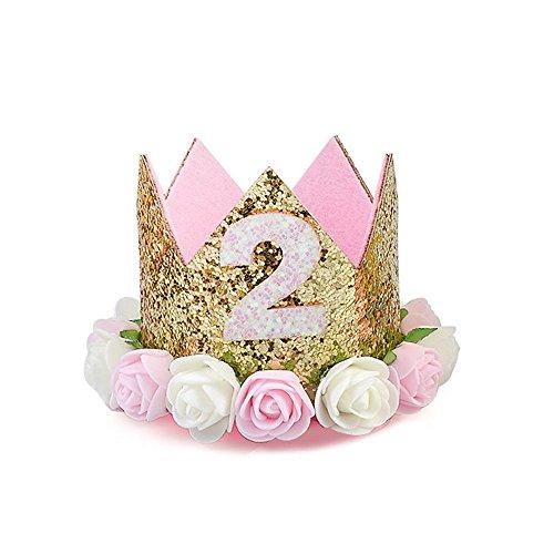 Maxgoods principessa tiara corona, neonate / primo compleanno cappello scintillante oro fiore stile con fiore di rosa artificiale, tiara fascia per capelli festa, due anni