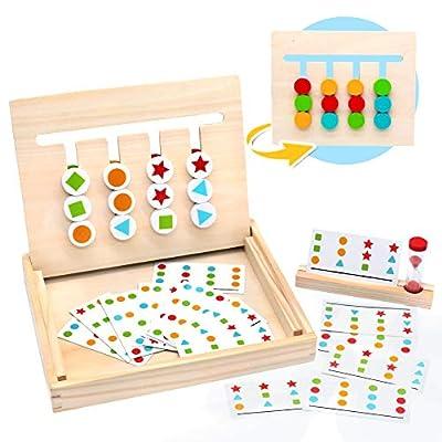 Symiu Juguetes Montessori Tablero Juego de Madera Puzzles Infantiles con Tarjetas de Patrón y Disco de Color Juguete De Rompecabezas Madera para Niños 3 4 5 Años por Taidao