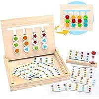 Symiu Juguetes Montessori Tablero Juego de Madera Puzzles Infantiles con Tarjetas de Patrón y Disco de Color Juguete De Rompecabezas Madera para Niños 3 4 5 Años