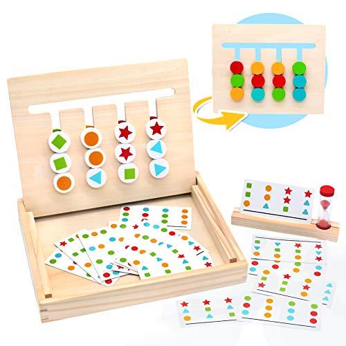 Symiu Juguetes Montessori Tablero Juego Madera Puzzles