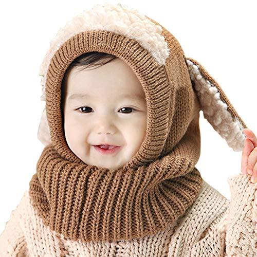 UKLink Kleinkind Winter Hut und Schal Set warme Winter Hüte mit Ohrenklappen für 1-3 Jahre alte Babys Jungen Mädchen Kinder Strickmütze für Weihnachten Neujahr Skifahren Schneien Skating Foto (Khaki)