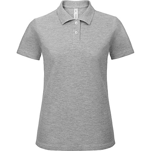 B&C Collection Ladies Id.001 Short Sleeve Polo Shirt Wine Heather Grey