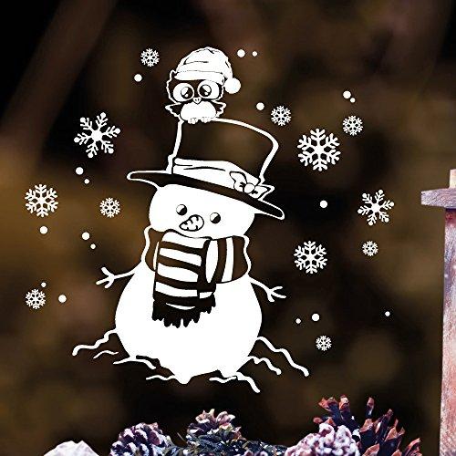 """Wandtattoo Loft Fensterbild \""""Schneemann mit Eule\"""" aus weißer mattglänzender Vinylfolie, konturgeschnitten- OHNE hässliche Hintergrundfolie, 2 Größen zur Auswahl Fensteraufkleber Weihnachten Dekoration / / 55 cm x 59 cm"""