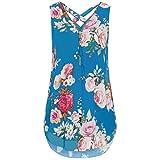 JUTOO Women Loose Flowers Chiffon Sleeveless Tank V-Neck Zipper Hem Scoop Tshirts Tops(W-Blau, EU:42/CN:L)