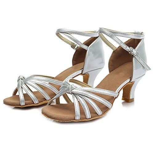 HIPPOSEUS Ballsaal Tanzschuhe/Standard Satin Latein Dance Schuhe/Damen Tanzschuhe,DE217 5CM Silber