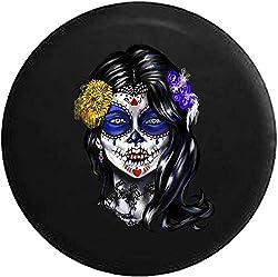 HHHello-Griend-Shop Schöne Sugar Skull Girl Mexican Latin Reserverad Covver Passt: Wrangler Camper RV Zubehör schwarz