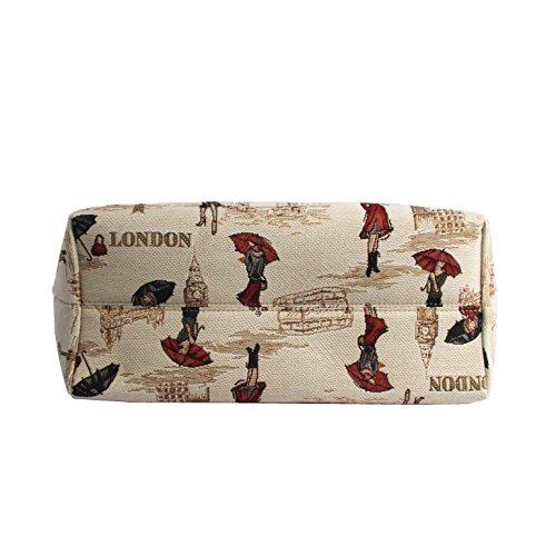 Borsa tote per Università donna di Signare a spalla in tessuto stile arazzo Signora Londres
