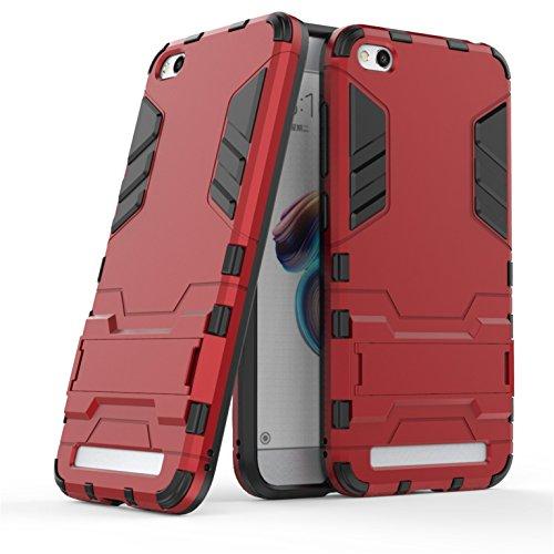 LXHGrowH Funda Xiaomi Redmi Go, Fundas 2in1 Dual Layer Anti-Shock 360° Full Body Protección TPU Silicona Gel Bumper y Duro PC Armadura con Soporte y Desmontable Carcasa para Xiaomi Redmi Go, Rojo