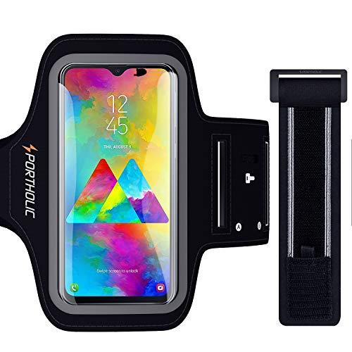 PORTHOLIC Sport Armband Fitness für Huawei P30 P20 Pro Mate 20 Pro Xiaomi 9 Galaxy A50 M20, Schlüsselhalter, Kartensteckplatz, Kopfhörerloch, für Handy Bis zu 6,5 Zoll, für Joggen Radfahren Wandern